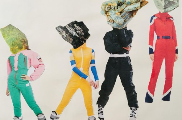 Four people in bright jump suits have large rocks covering their faces.