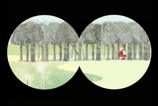 Illustration of forest as if looking through binoculars