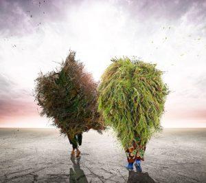 Two figures who look like walking trees